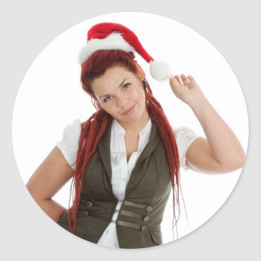 Young modern christmas girl on white background. classic round sticker