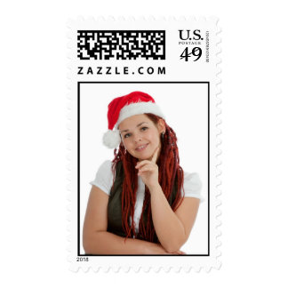 Young modern christmas girl one white background stamp