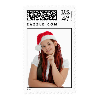 Young modern christmas girl one white background postage stamp