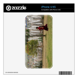 Young monk and prayer flags decals for iPhone 4