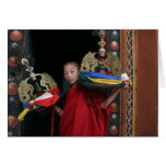 Young Monk with Black Hats Greeting Card