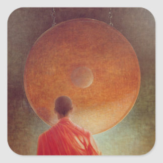 Young Monk with Gong Square Sticker