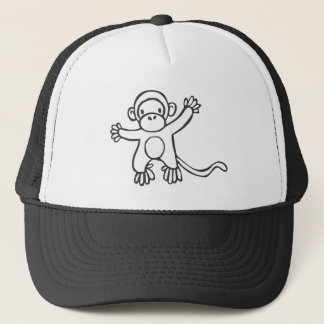 Young Monkey in Black and White Sketch Trucker Hat