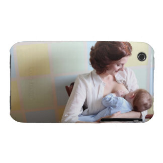 young mother breast feeding her baby boy iPhone 3 Case-Mate cases