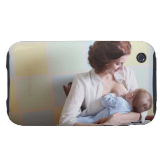 young mother breast feeding her baby boy iPhone 3 tough covers