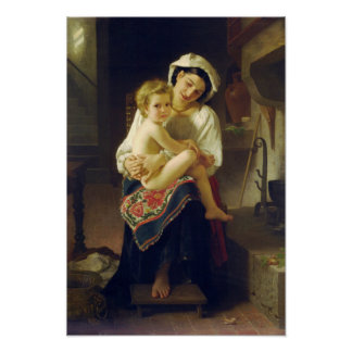 Young Mother Gazing at Child by Bouguereau Posters