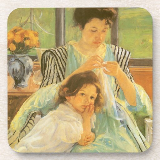 Young Mother Sewing by Mary Cassatt Beverage Coasters