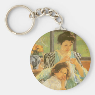Young Mother Sewing by Mary Cassatt Key Chain