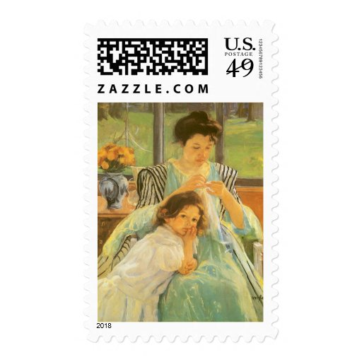 Young Mother Sewing by Mary Cassatt Stamp
