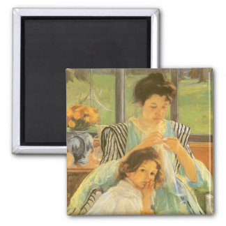 Young Mother Sewing by Mary Cassatt, Vintage Art 2 Inch Square Magnet