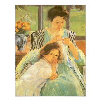 Young Mother Sewing by Mary Cassatt, Vintage Art 4.25x5.5 Paper Invitation Card