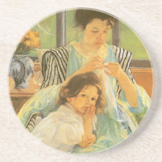 Young Mother Sewing by Mary Cassatt, Vintage Art Coaster