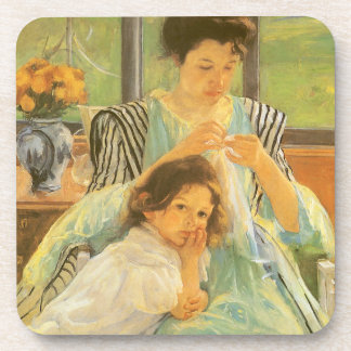 Young Mother Sewing by Mary Cassatt, Vintage Art Drink Coaster