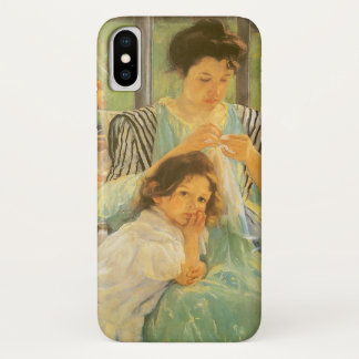 Young Mother Sewing by Mary Cassatt, Vintage Art iPhone X Case
