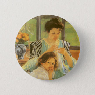 Young Mother Sewing by Mary Cassatt, Vintage Art Pinback Button