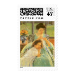 Young Mother Sewing by Mary Cassatt, Vintage Art Postage