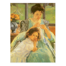 Young Mother Sewing by Mary Cassatt, Vintage Art Postcard