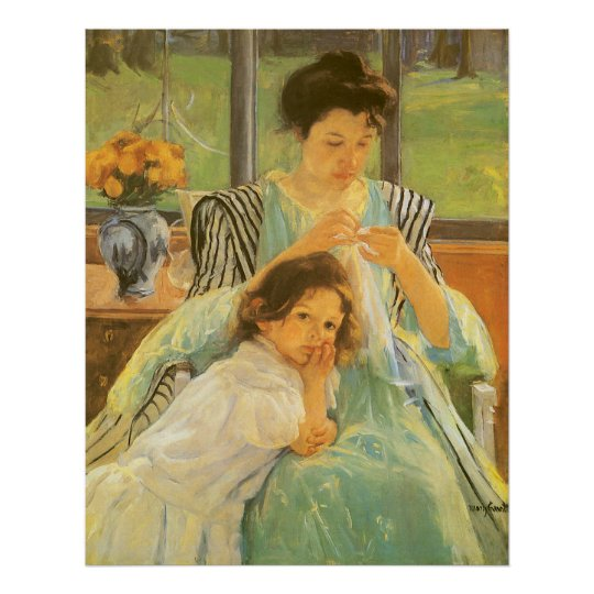 Young Mother Sewing by Mary Cassatt, Vintage Art Poster