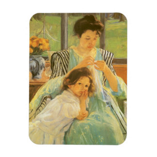 Young Mother Sewing by Mary Cassatt, Vintage Art Rectangular Photo Magnet