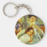 Young Mother Sewing Keychain