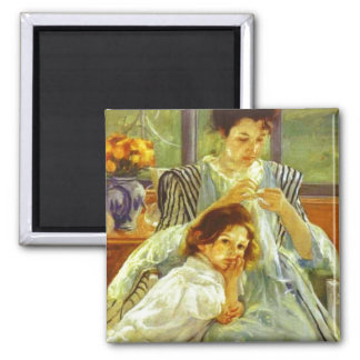 Young Mother Sewing Magnet