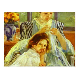 Young Mother Sewing Post Card