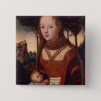 Young mother with child button