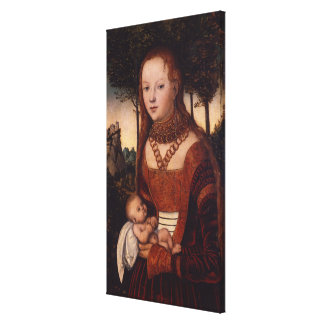 Young mother with child stretched canvas print