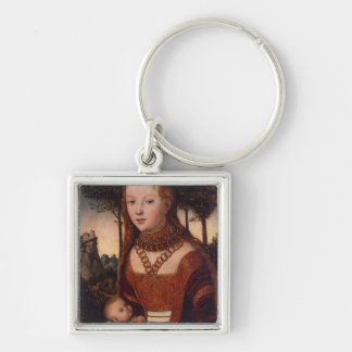 Young mother with child keychain