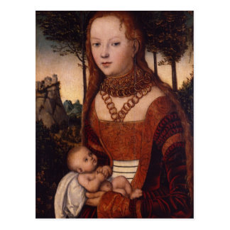 Young mother with child postcard