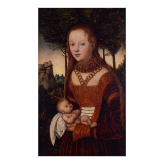 Young mother with child print