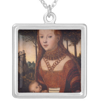 Young mother with child silver plated necklace
