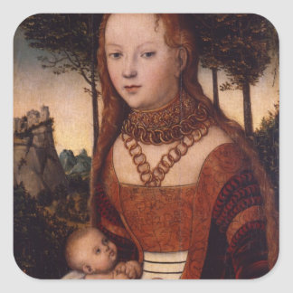Young mother with child square sticker