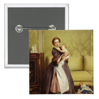 Young Mother with her Children in a Salon 2 Inch Square Button