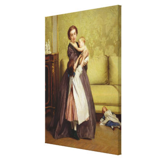 Young Mother with her Children in a Salon Stretched Canvas Print