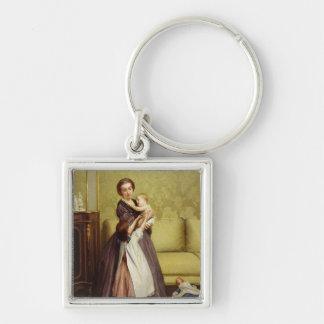 Young Mother with her Children in a Salon Key Chains