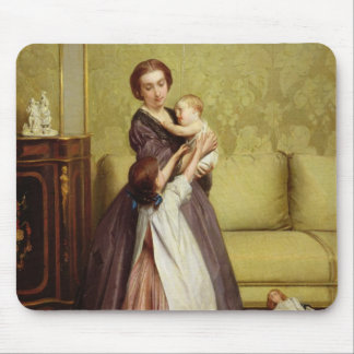 Young Mother with her Children in a Salon Mouse Pad