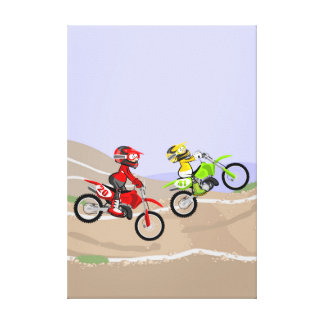 Young motocross competing to each other canvas print