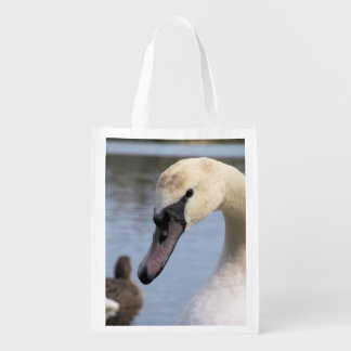 Young Mute Swan Grocery Bags