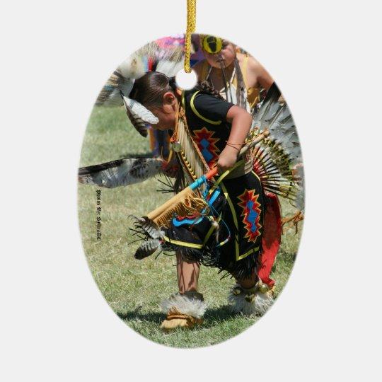 young native american ceramic ornament
