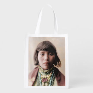 Young Native American Girl 1904 Grocery Bag