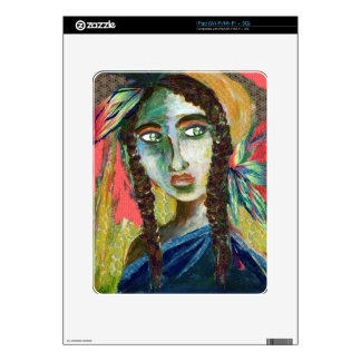 Young Native American Woman with Feathers iPad Decals