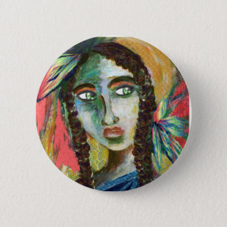 Young Native American Woman with Feathers Pinback Button