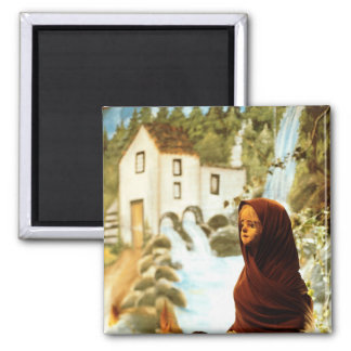 Young nordic girl 2 inch square magnet
