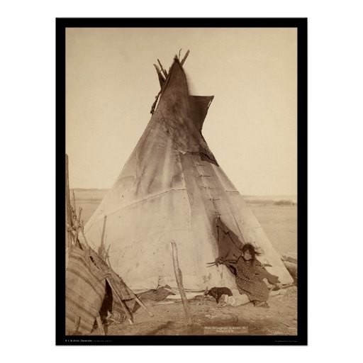 Young Oglala Indian Outside Tipi SD 1891 Poster