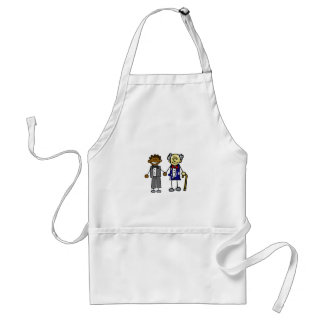 Young Old Back Asian Couple Adult Apron