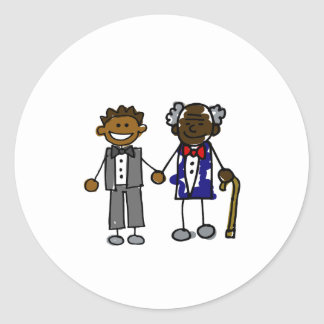 Young Old Black Gay Couple Classic Round Sticker