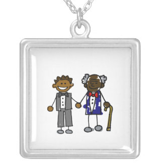 Young Old Black Gay Couple Silver Plated Necklace