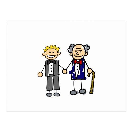 Young Old Gay Wedding Postcard
