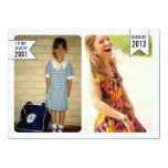 """Young & Old Photo Graduation Class of 2013 Card 4.5"""" X 6.25"""" Invitation Card"""
